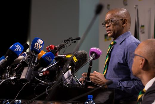 Ace Magashule at a news conference