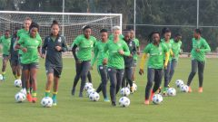 Banyana practicing on the field