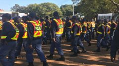 SAPS cadets joined the 100 Men March of no violence against women and children.
