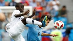France's N'Golo Kante in action with Uruguay's Rodrigo Bentancur.