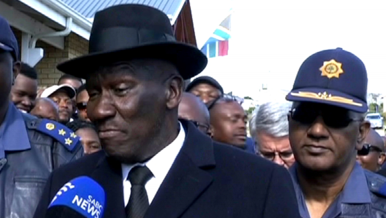 Bheki Cele speaking to SABC News.