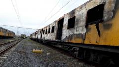 A torched train