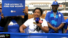 Phumzile Van Damme speaking addressing women on Women's day.