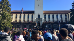 Students gathered in front of Rhodes University