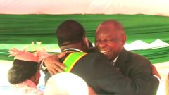 Ramaphosa and Mnangagwa hugging