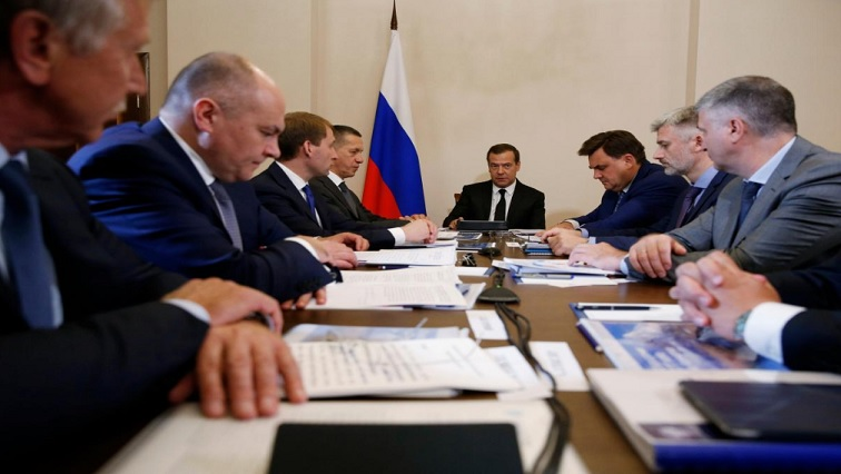 Russian Prime Minister Dmitry Medvedev in a meeting
