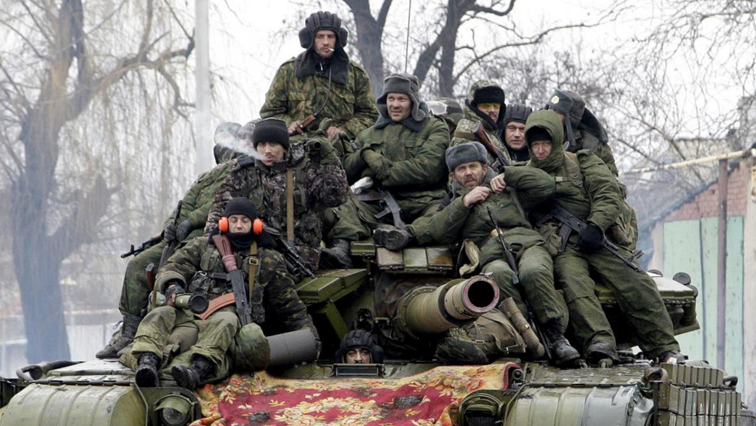 Russia's soldiers sitting.