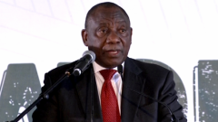 Ramaphosa gives his keynote address at the National womens day event