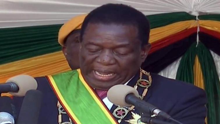 Mnangagwa speaking at his inauguration