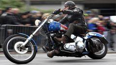 A biker riding his Harley