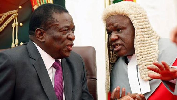 Emmerson Mnangagwa and Chief Justice Luke Malaba.
