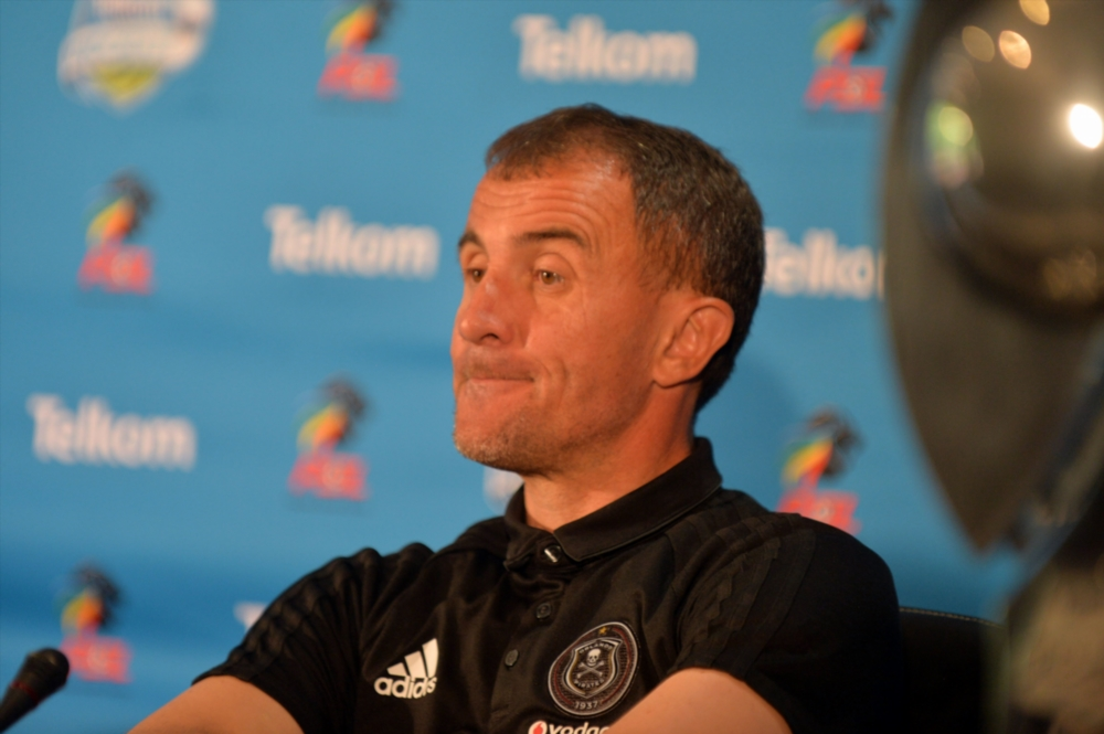 Orlando Pirates coach Milutin Sredojevic addressing the media.