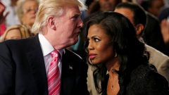 Donald Trump (left) and Omarosa Manigault (right)