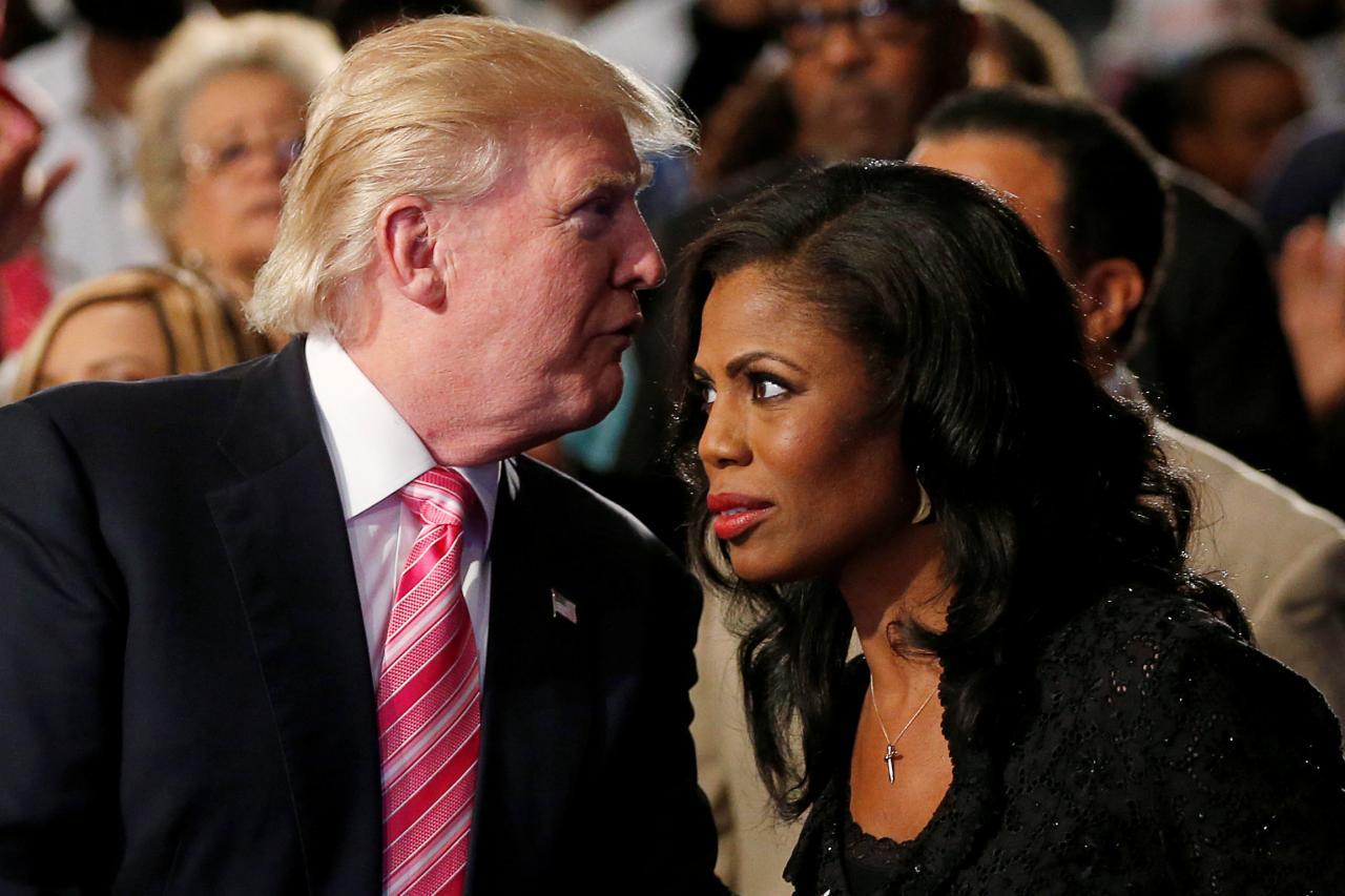 Donald Trump (left) and Omarosa Manigault (right)