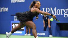 Serena Williams playing a shot.