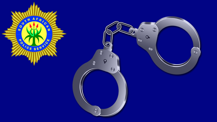 SAPS badge with handcuffs