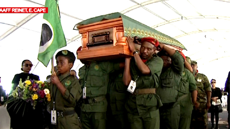 Zondeni Sobukwe's casket being carried
