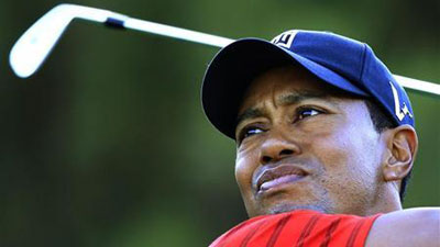 Tiger Woods teeing off