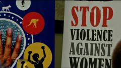 Poster calling for an end to violence against women