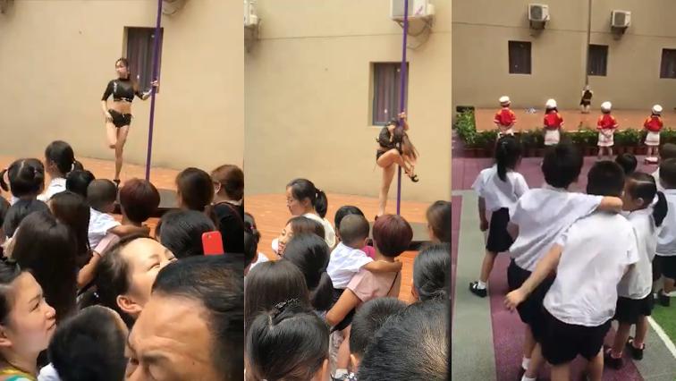 Pole dancer with school kids watching