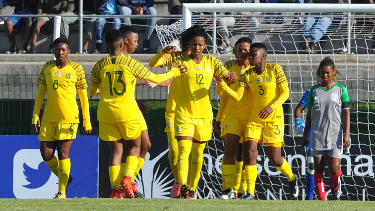 Banyana Banyana players in a field.