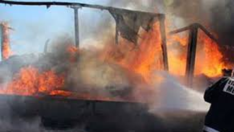 File photo of a burning structure