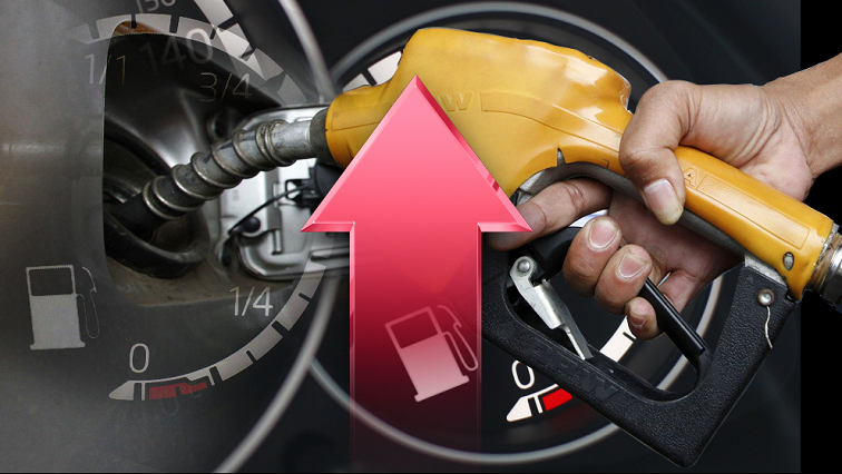 A graphic indicating an increase in the fuel price