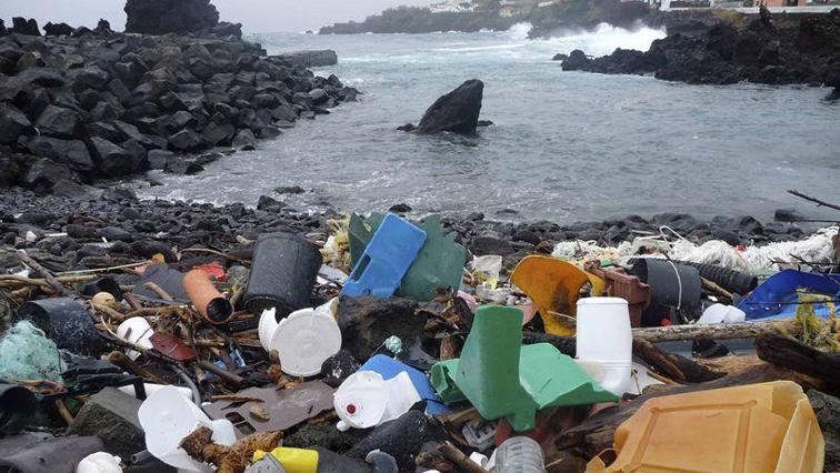 Plastic waste in an ocean