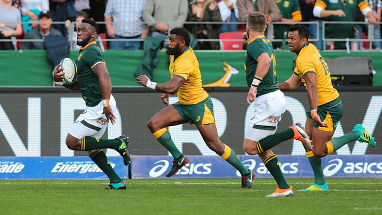 On-field action between South Africa and Australia