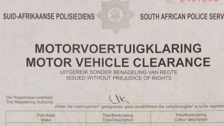 Copy of clearance certificates for vehicles