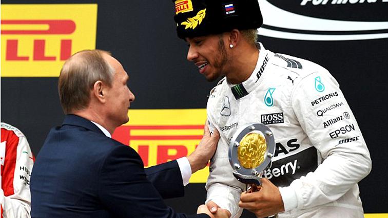 Lewis Hamilton with Russian president Vladimir Putin
