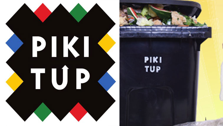 Pikitup logo and a trash bin.