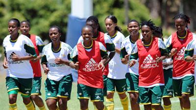 Banyana players running