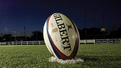 Rugby ball on the field