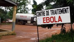 An Ebola treatment centre sign