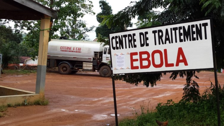 An Ebola treatment centre sign