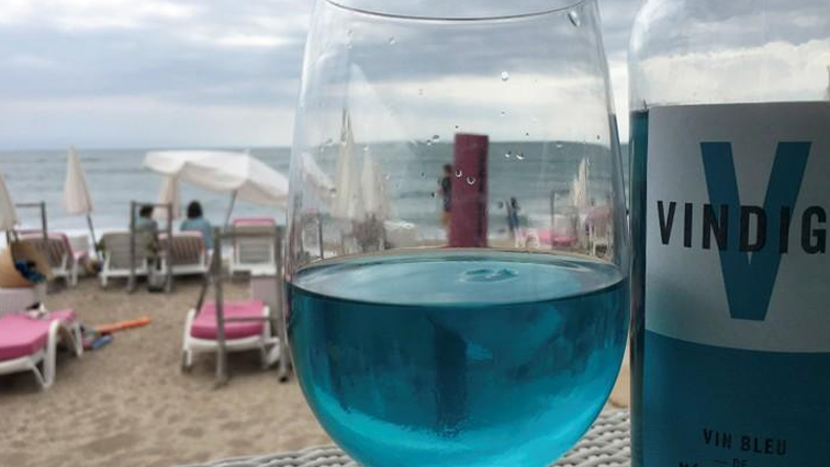 Blue wine in a goblet