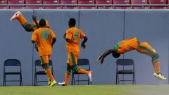 Zambia team mates celebrating