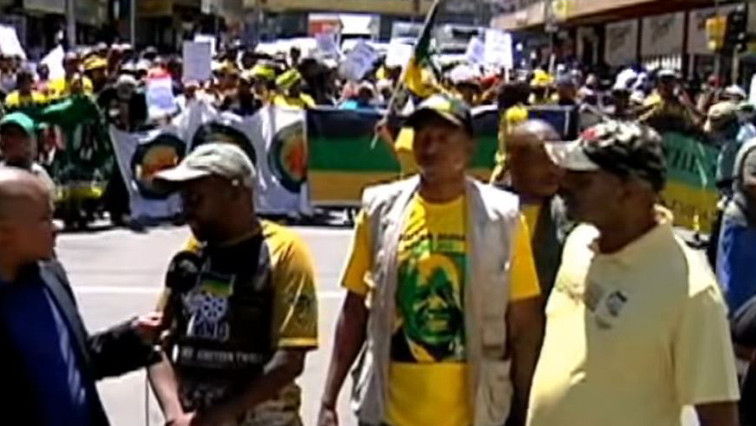 Residents marching in Hillbrow