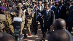 Paul Biya greeting supporters