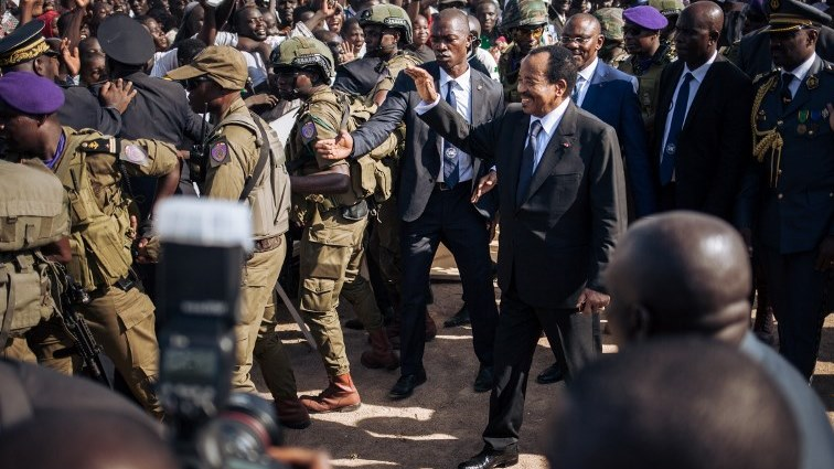 Paul Biya greeting supporters
