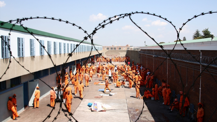 Prisoners in the grounds of a correctional facility