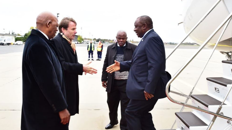 Ramaphosa just off the plane in Germany