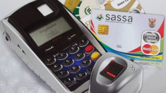 A graphic of the Sassa card and card machine