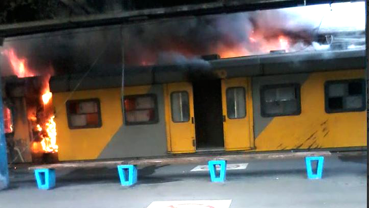 A train carriage burning