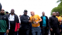 Ramaphosa on a morning walk with others