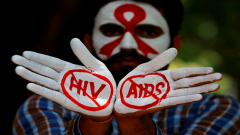 Hands painted stop HIV/AIDS