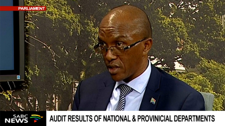 Auditor General Kimi Makwetu speaking to SABC news