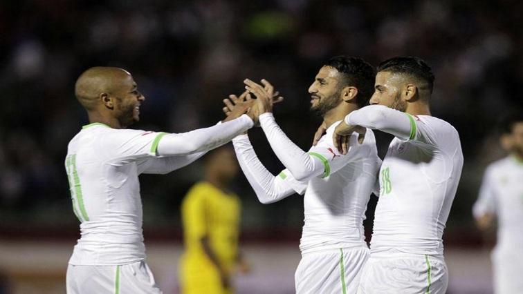Algeria team mates celebrate
