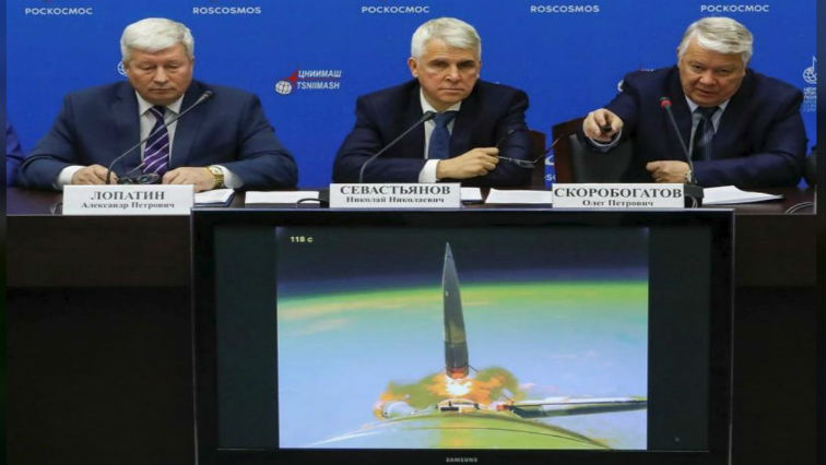 Oleg Skorobogatov, head of the investigating commission, speaks at a news conference on the results of the investigation on the failed Soyuz rocket launch.